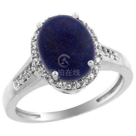 Natural 2.49 ctw Lapis & Diamond Engagement Ring 10K
