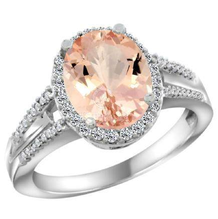 Natural 4.12 ctw morganite & Diamond Engagement Ring