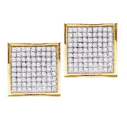 0.45 CTW Pave-set Diamond Square Cluster Earrings 10KT