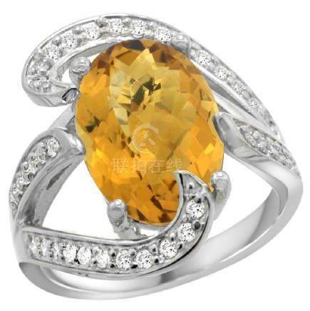 Natural 6.22 ctw quartz & Diamond Engagement Ring 14K