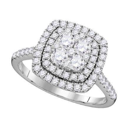 1 CTW Diamond Square Double Halo Cluster Ring 14KT