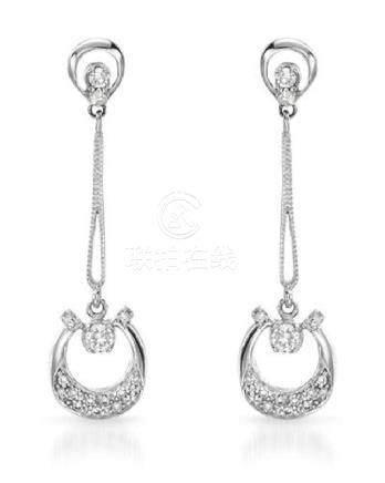 0.40 CTW Diamond Earrings 14K White Gold - REF-42R7K