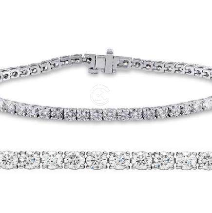 Natural 2ct VS-SI Diamond Tennis Bracelet 18K White