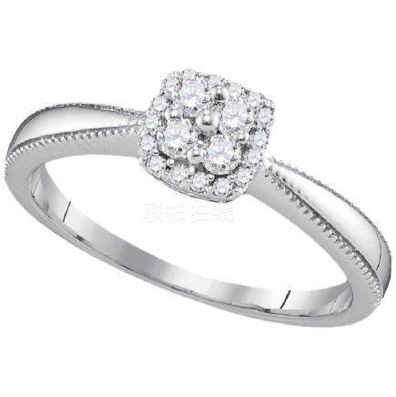 0.20 CTW Diamond Square Halo Cluster Ring 10KT White