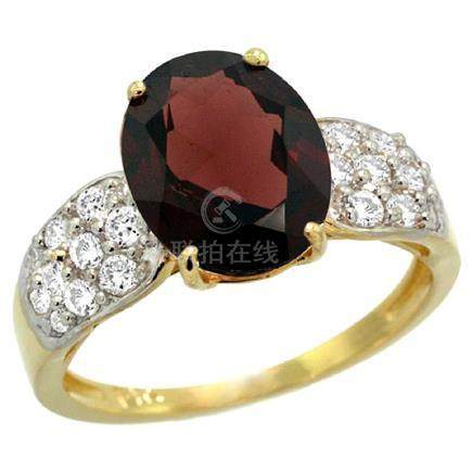 Natural 2.75 ctw garnet & Diamond Engagement Ring 14K