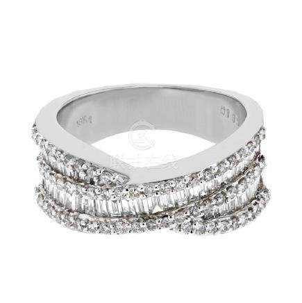 1.35 CTW Diamond Ring 18K White Gold - REF-156M4F