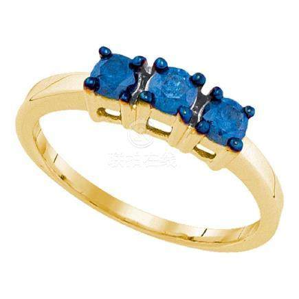 0.50 CTW Blue Color Diamond 3-stone Bridal Ring 10KT