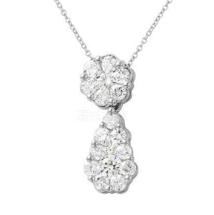 2 CTW Diamond Necklace 14K White Gold - REF-193R8K
