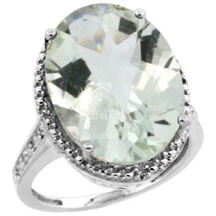 Natural 13.6 ctw Green-amethyst & Diamond Engagement