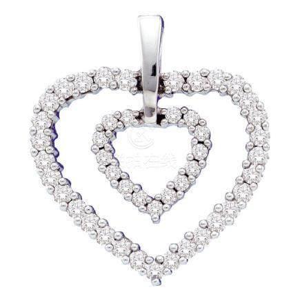 0.50 CTW Diamond Double Heart Pendant 14KT White Gold -