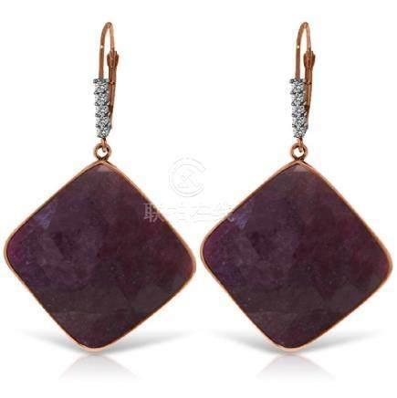 Genuine 40.65 ctw Ruby & Diamond Earrings Jewelry 14KT