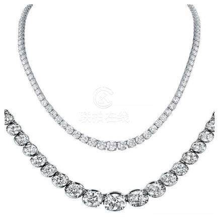 Natural 14.14CTW VS2/I-J Diamond Tennis Necklace 18K
