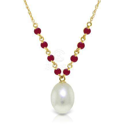 Genuine 5 ctw Pearl & Ruby Necklace Jewelry 14KT Yellow