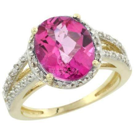 Natural 3.47 ctw Pink-topaz & Diamond Engagement Ring