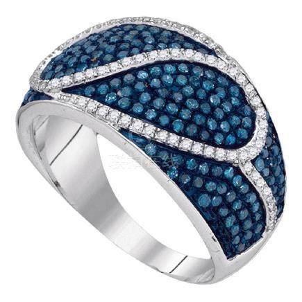 1.1 CTW Blue Color Diamond Ring 10KT White Gold -