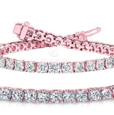 Natural 7ct VS-SI Diamond Tennis Bracelet 14K Rose Gold