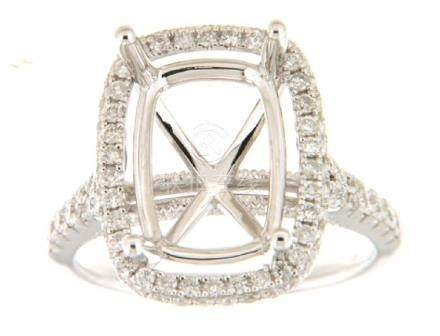 0.85 CTW Diamond Semi Mount Ring 14K White Gold -