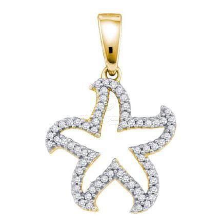 0.20 CTW Diamond Star Pendant 10KT Yellow Gold -