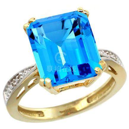 Natural 5.42 ctw Swiss-blue-topaz & Diamond Engagement