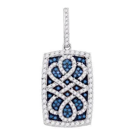 0.90 CTW Blue Color Diamond Rectangle Cluster Pendant