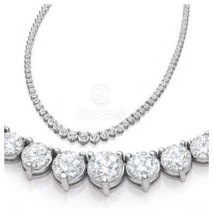 Natural 7.18CTW VS2/I-J Diamond Tennis Necklace 14K