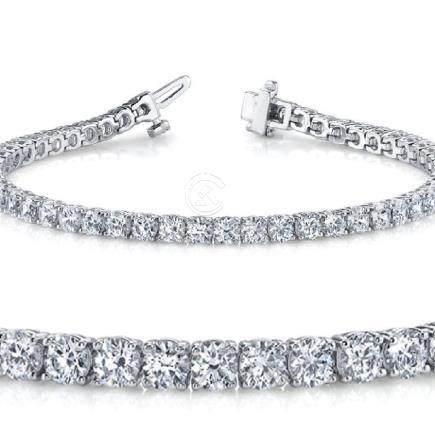 Natural 5ct VS-SI Diamond Tennis Bracelet 14K White