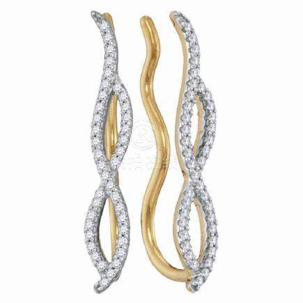 0.25 CTW Diamond Infinity Climber Earrings 10KT Yellow