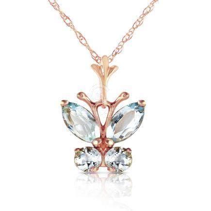 Genuine 0.60 ctw Aquamarine Necklace Jewelry 14KT Rose