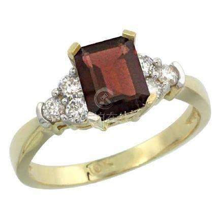 Natural 1.48 ctw garnet & Diamond Engagement Ring 10K