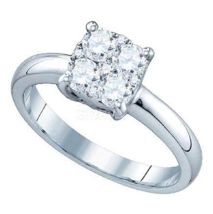 0.35 CTW Diamond Cluster Bridal Engagement Ring 18KT