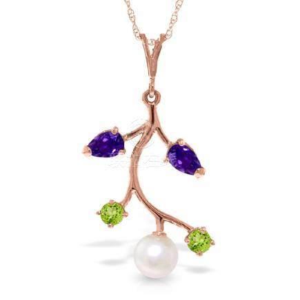Genuine 2.7 ctw Multi-gemstone Necklace Jewelry 14KT