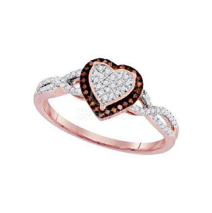 0.20 CTW Red Color Diamond Heart Cluster Ring 10KT Rose