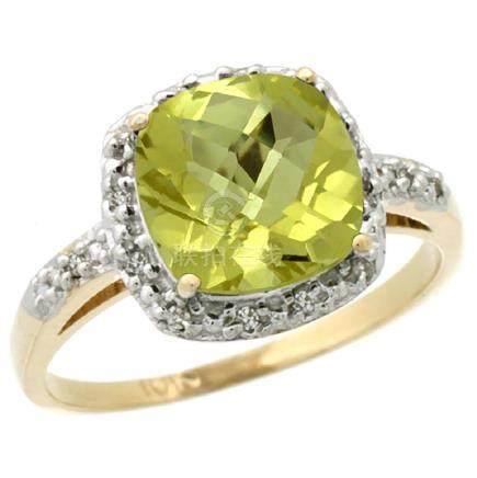 Natural 3.92 ctw Lemon-quartz & Diamond Engagement Ring