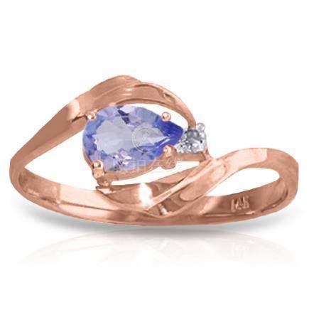Genuine 0.51 ctw Tanzanite & Diamond Ring Jewelry 14KT