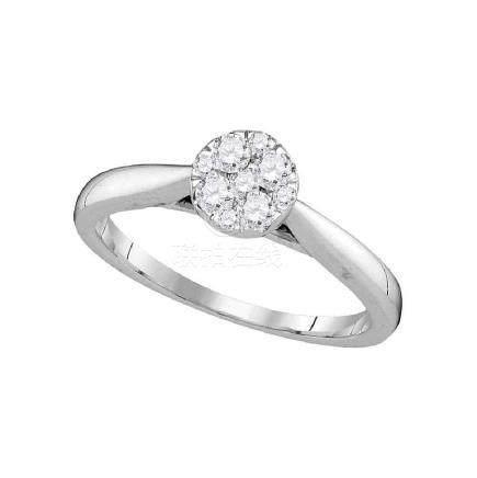 0.25 CTW Diamond Cluster Bridal Engagement Ring 14KT