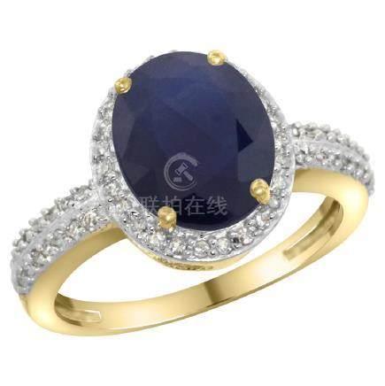 Natural 2.56 ctw Blue-sapphire & Diamond Engagement