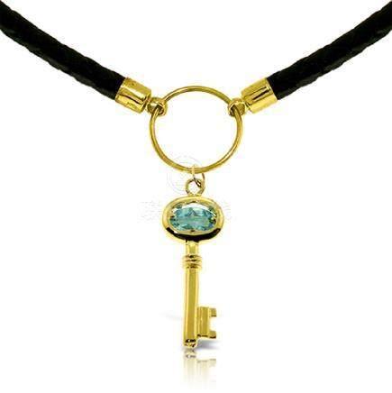 Genuine 0.50 ctw Blue Topaz Necklace Jewelry 14KT Rose