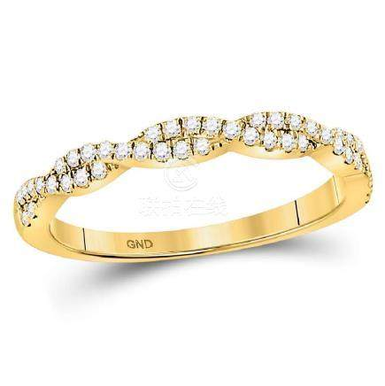 0.24 CTW Diamond Woven Stackable Ring 10KT Yellow Gold