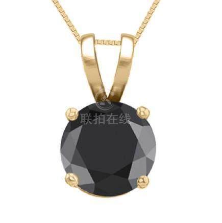 14K Yellow Gold 1.02 ct Black Diamond Solitaire