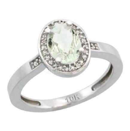 Natural 1.08 ctw Green-amethyst & Diamond Engagement