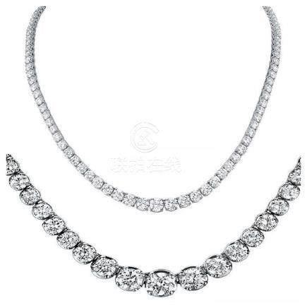 Natural 14.15CTW VS2/I-J Diamond Tennis Necklace 14K