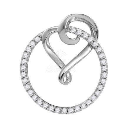 0.34 CTW Diamond Circle Heart Love Pendant 10KT White
