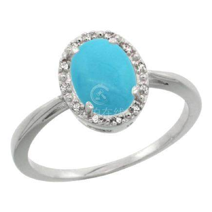 Natural 1.22 ctw Turquoise & Diamond Engagement Ring