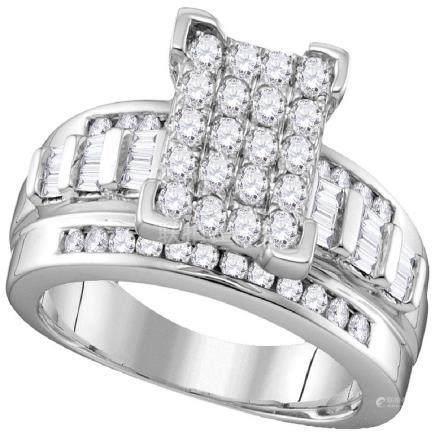 2 CTW Diamond Cluster Bridal Engagement Ring 10KT White