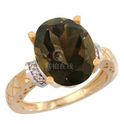 Natural 5.53 ctw Smoky-topaz & Diamond Engagement Ring