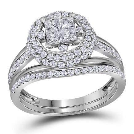 1 CTW Princess Diamond Halo Bridal Engagement Ring 14KT
