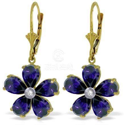 Genuine 4.43 ctw Sapphire & Diamond Earrings Jewelry