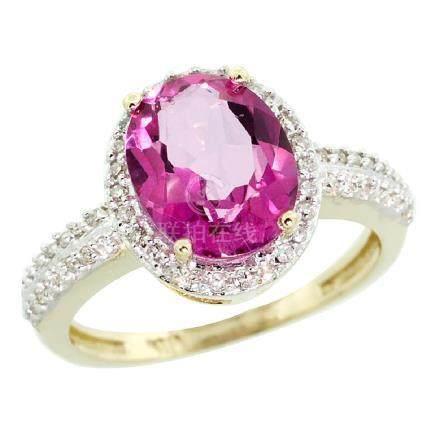Natural 2.56 ctw Pink-topaz & Diamond Engagement Ring