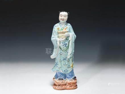 大明陶瓷廠 粉彩藍采和