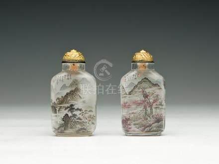 陳潤璞 水晶內繪四季山水及漁、樵、耕、讀鼻煙壺一對